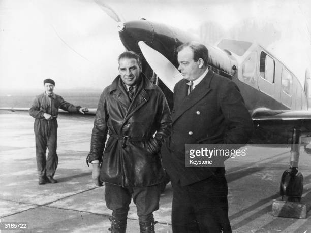 French novelist and airman Antoine de SaintExupery with his mechanic Andre Prevot SaintExupery's best known work is the novel 'Le Petit Prince' While...