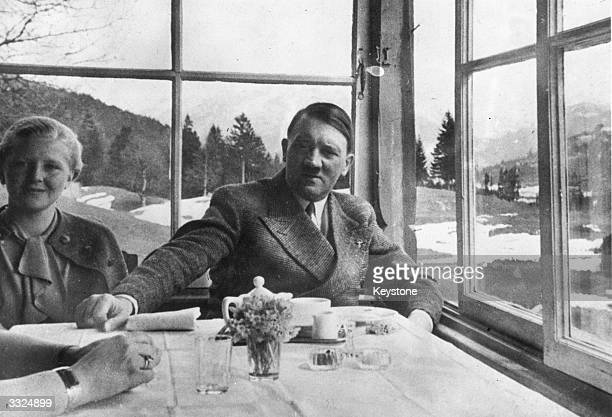 German political leader Adolf Hitler with Eva Braun