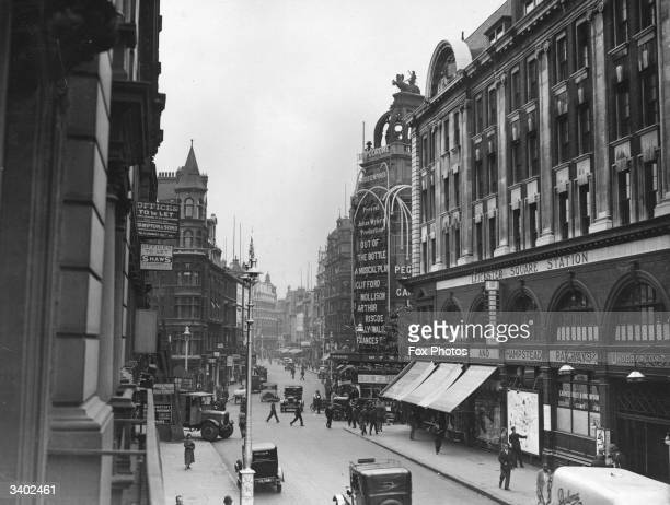London's Charing Cross Road with the Hippodrome and Leicester Square station on the left