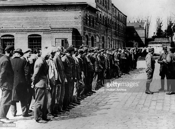 Roll call at Oranienburg concentration camp in Germany