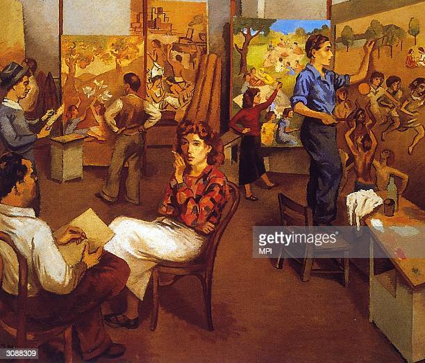 Several WPA artists at work on canvases. Original Artwork: Painting by Moses Soyer