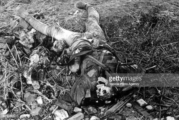 The remains of a Chinese soldier near Shanghai during the SinoJapanese conflict