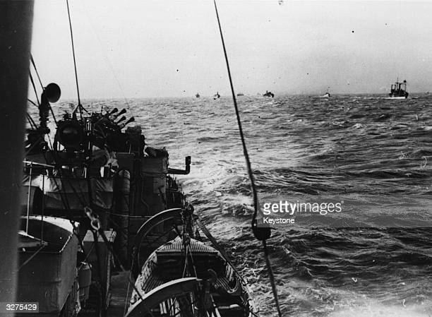 A view from the destroyer 'Vanoe' of the merchant ships in an Atlantic convoy