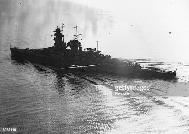'Admiral Graf Spee' seen from the air before she was scuttled in 1939