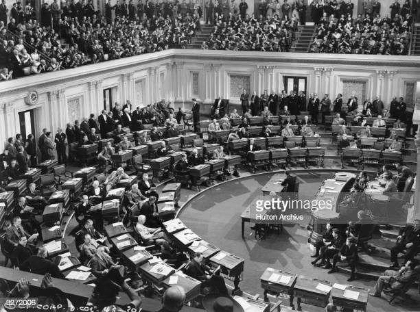 An interior view of the US Senate during the filming of Frank Capra's political satire 'Mr Smith Goes to Washington' for Columbia