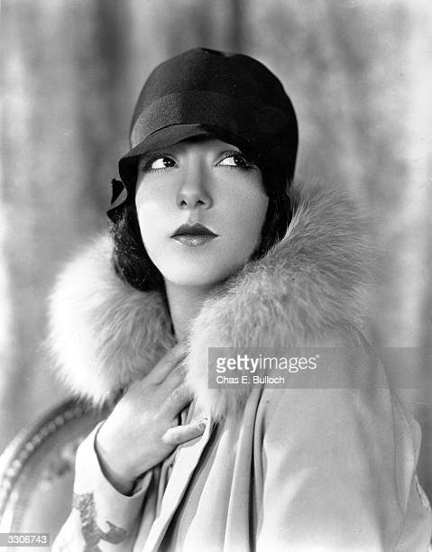 Lupe Velez the stage name of Guadeloupe Velez de Villalobos wearing a cloche hat and a furtrimmed coat