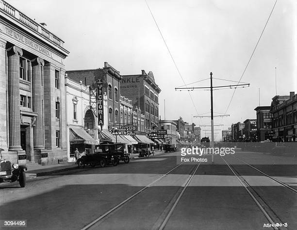 Second Avenue at Saskatoon with tramlines running down the centre