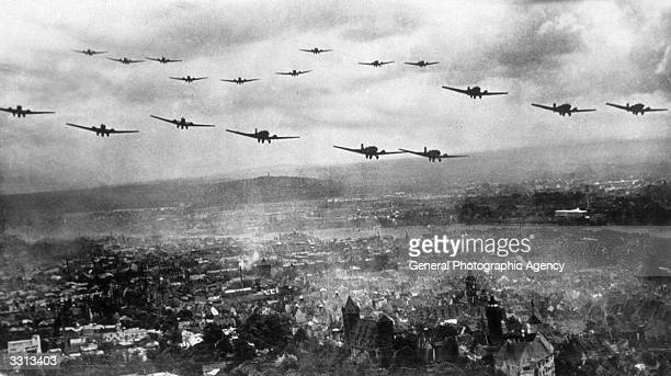 The Luftwaffe flying low over a city