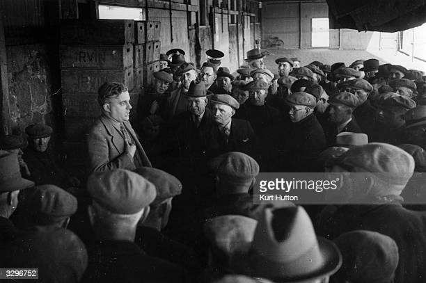 The Scottish Conservative politician Sir Robert John Graham Boothby, , 1st Baron Boothby of Buchan and Rattray Head, addresses an informal meeting of...