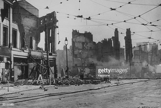 A scene among the smoking ruins of Liverpool after the city was bombed three times