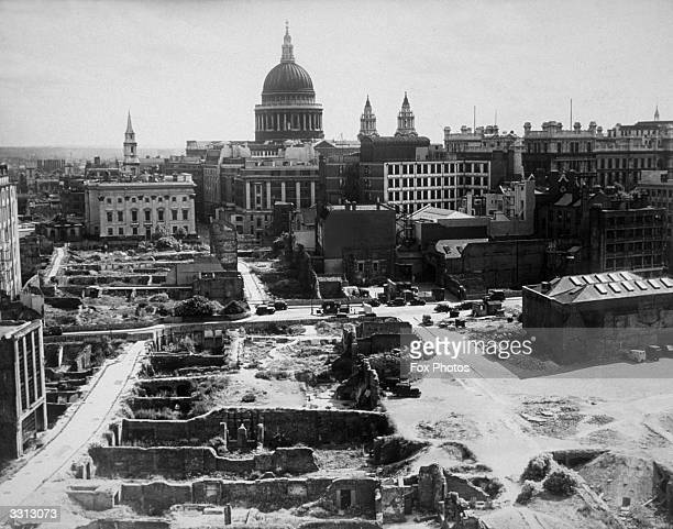 A view of devastation around St Paul's Cathedral in the City