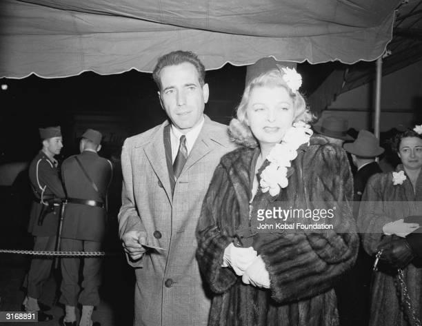 American actor Humphrey Bogart with his third wife, actress Mayo Methot .