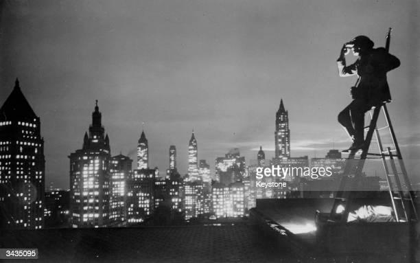 American Legion roof spotter Benjamin Franklin enjoys the New York Skyline