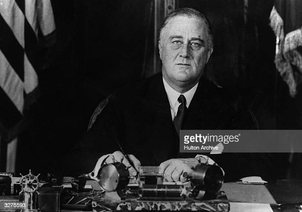 American President Franklin Delano Roosevelt at his desk
