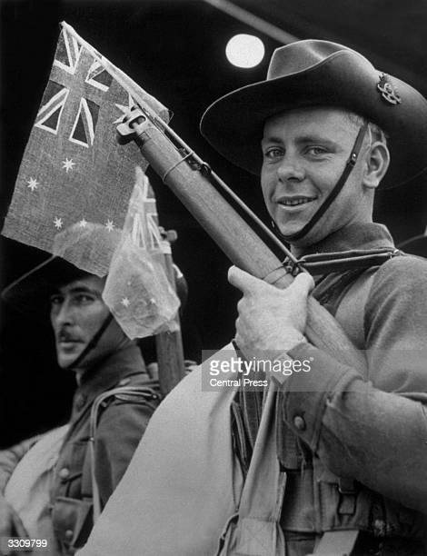 An Australian soldier from the Second Australian Expeditionary Force about to embark on active service overseas