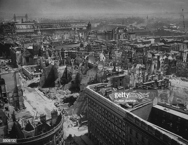 Bomb damage sustained by the City of London Tower Bridge can be seen in the background