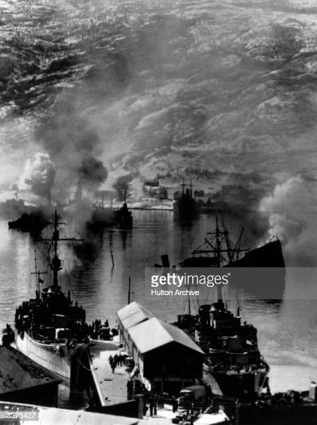 Bombing in the Norwegian port of Narvik which the Germans wanted to keep open as it was an icefree port