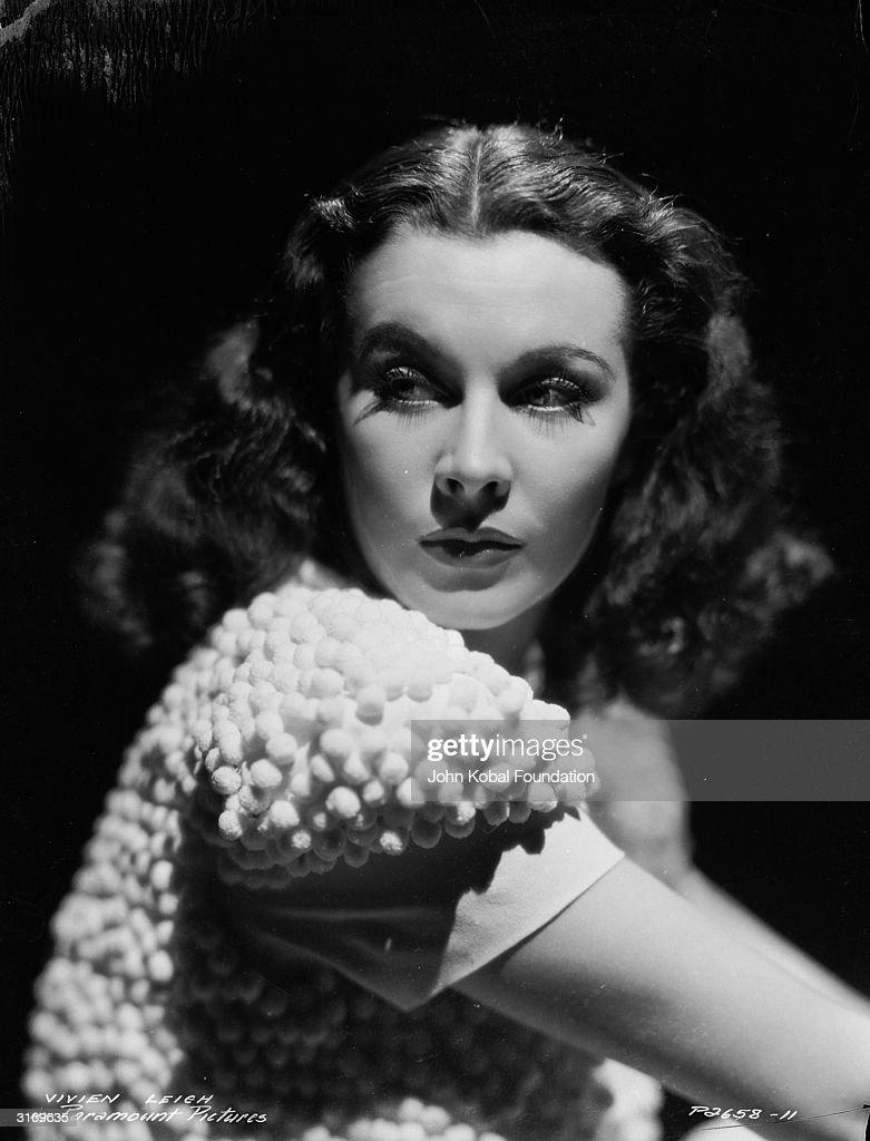 British actress Vivien Leigh (1913 - 1967) models a textured jacket.