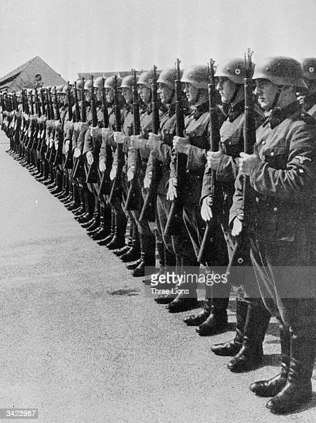 Dutch Nazis recruited to serve in special units in the German army on parade at a training camp