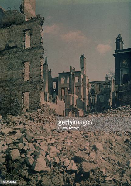 Empty shells of buildings in the centre of London after a World War II German bombing raid