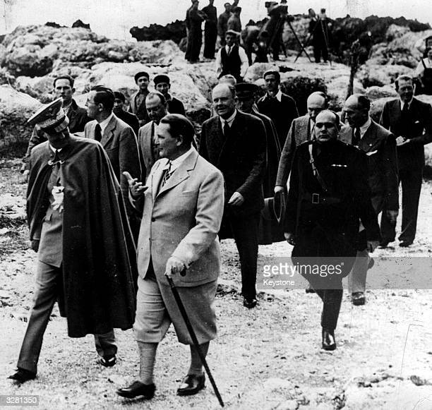 Hermann Wilhelm Goering German politicomilitary leader and head of the Luftwaffe leading an inspection party