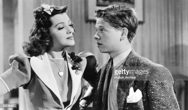Hollywood child actor Mickey Rooney with actress Ann Rutherford viewed in a film clip on a postcard