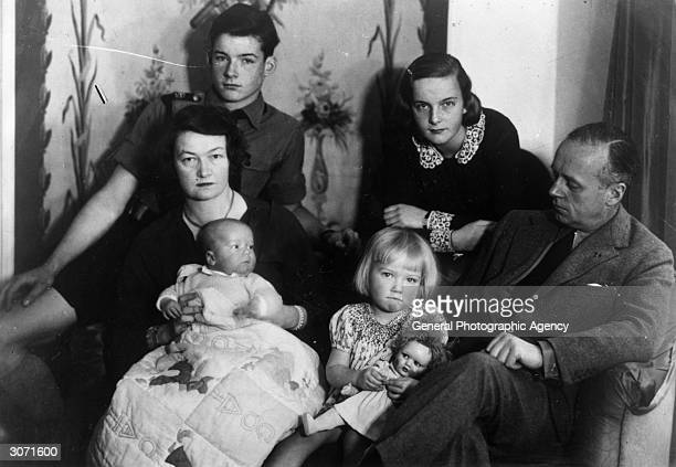 Joachim von Ribbentrop German Foreign Minister relaxes with his wife and children Rudolf Bettina Ursula and Adolf He was executed for his war crimes...
