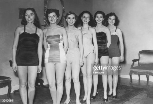 Joan Collins Pauline Andress Veronica Hurst Janice Lothian Mavis Greenaway and Norma Maden stand for their screen test at Shepperton Studios where...