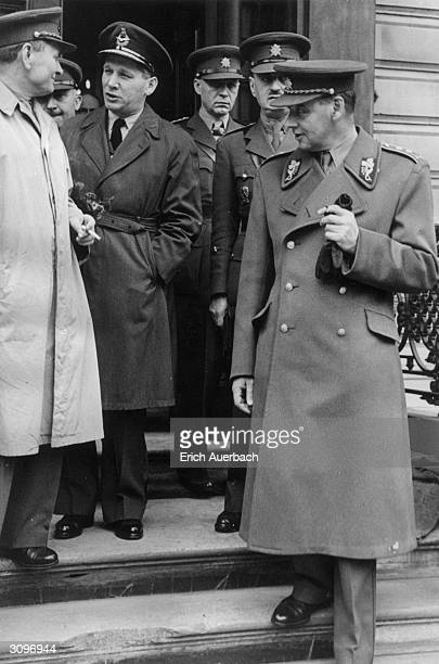 Leaving the London Chancellory of Czech leader Dr Eduard Benes, from l to r; Lt General Sergej Ingr , Colonel Stanislav Bosy , Air Vice Marshal Karel...