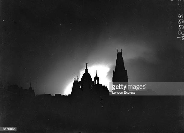 London skyline in the blitz silhouetted by the light of fires
