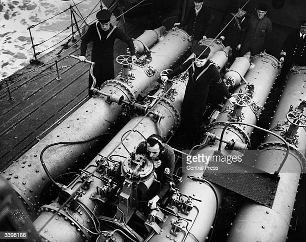 Manning the torpedo tubes on a destroyer on the Dover patrol