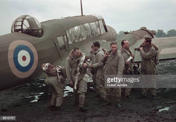 Members of the RAF aircrew prepare to embark on another bombing mission