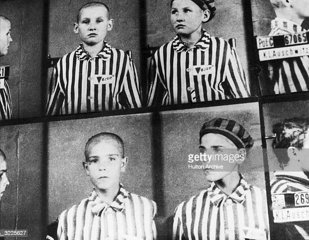 Mugshots show boys interned at the Auschwitz concentration camp, Auschwitz, Poland, World War II. The boys wear striped uniforms.