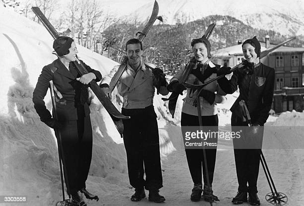 Princess Aspasia of Greece and her daughter Alexandra later the wife of King Peter II of Yugoslavia skiing with Lord Donegall and Miss Lorna...