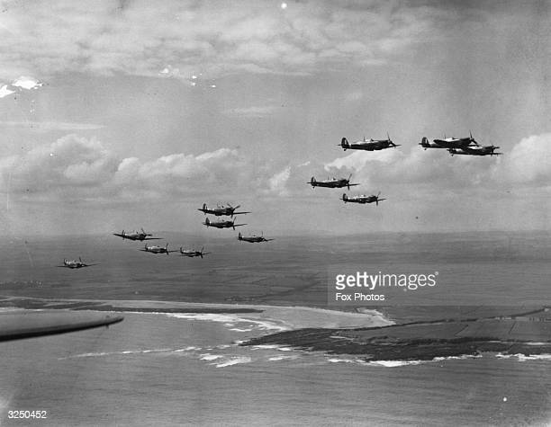 RAF Supermarine Spitfires on patrol over the British coast