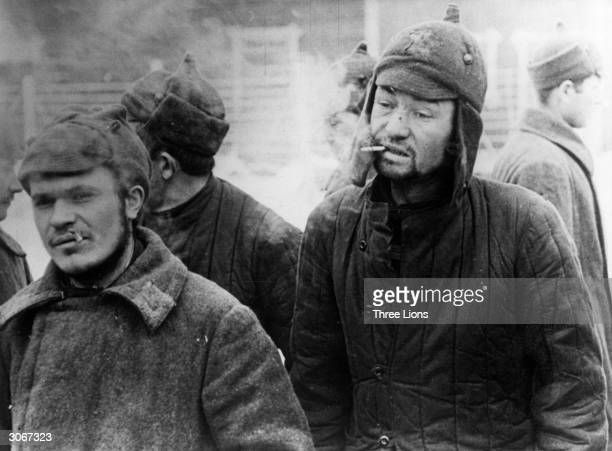 Russian prisoners of war smoking in a Finnish prison camp.