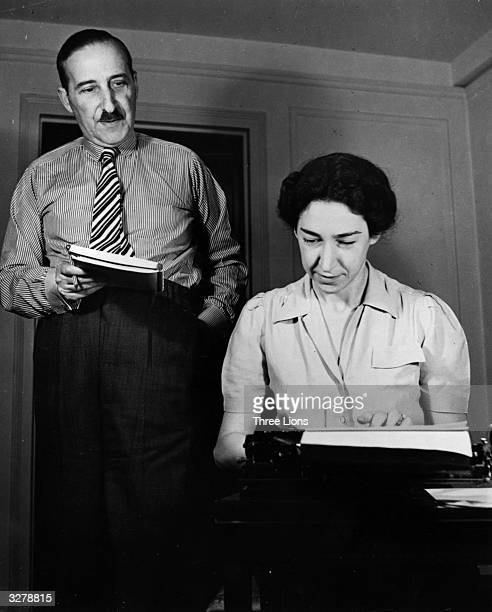 Stefan Zweig Austrianborn British writer poet pacifist and translator of Ben Johnson working on a piece with his wife and secretary Lotte Altmann