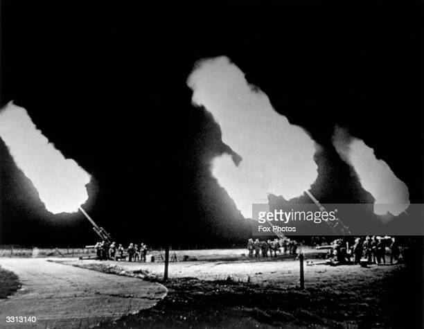 Synchronised firing of the 88 millimeter guns part of Germany's antiaircraft defence