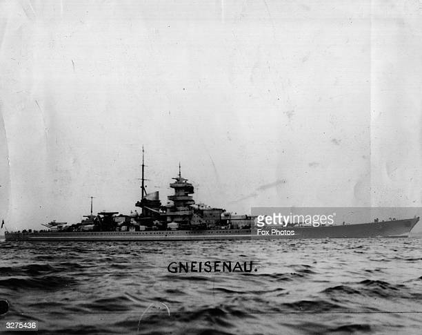 The German 26000 ton battleship 'Gneisenau' sailing in calm seas which was reported by Norway as sunk