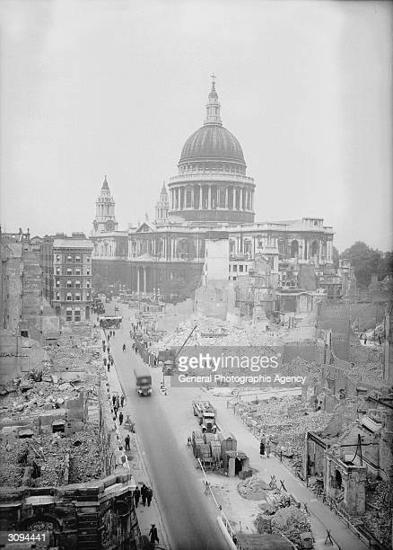 The ruins of buildings bombed in German air raids beside St Paul's Cathedral in the City of London