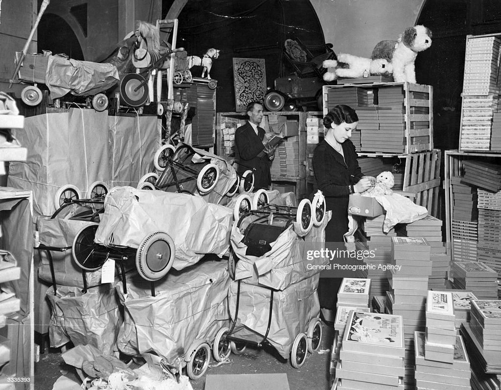 Toys stacked up in a London store in anticipation of the Christmas rush.