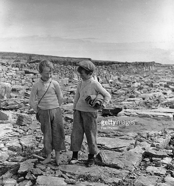 Two schoolboys on the Aran Islands County Galway share a joke