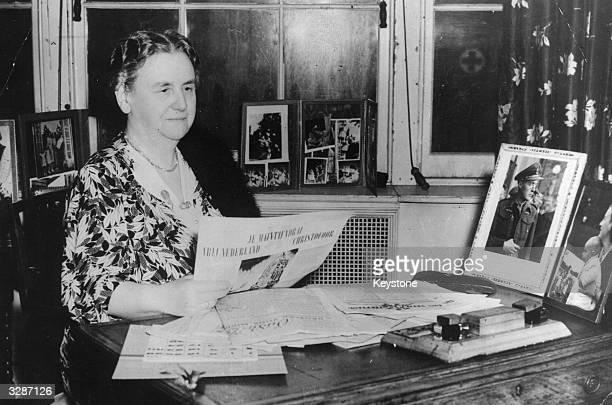 Wilhelmina Helena Pauline Maria of OrangeNassau Queen of the Netherlands in her workroom in London during World War II when she was forced to seek...