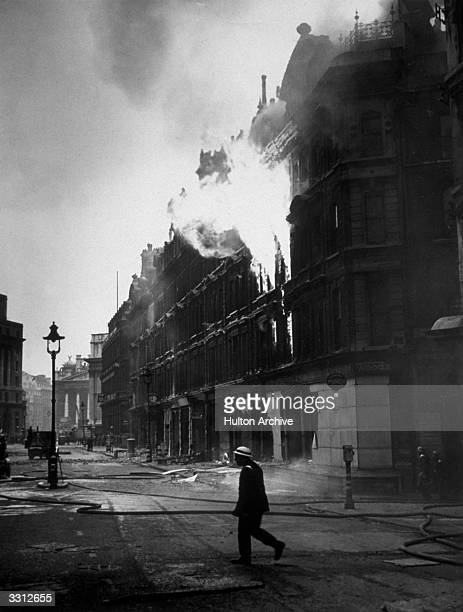 A fire in Queen Victoria Street near Mansion House in London