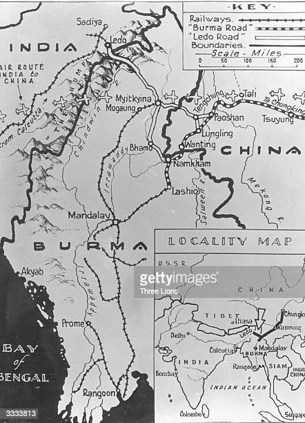 A map showing the road from Ledo in India over the mountains into China