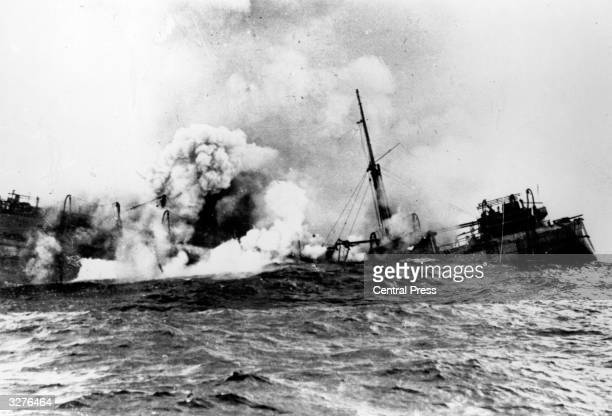 'Apapa' sinking after being bombed by nazis