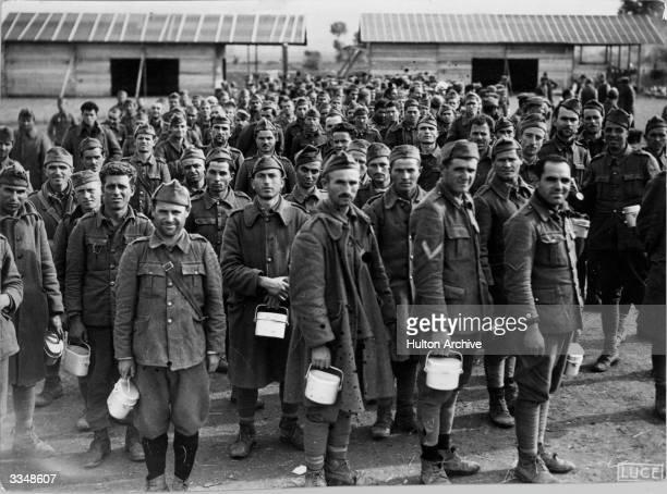 Greek prisoners being held captive in Albania during World War II.
