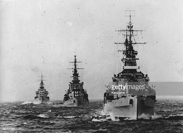 Part of the French Navy's Fleet at sea the cruisers 'Diadem' 'Cleopatra' and 'Dido' in line formation