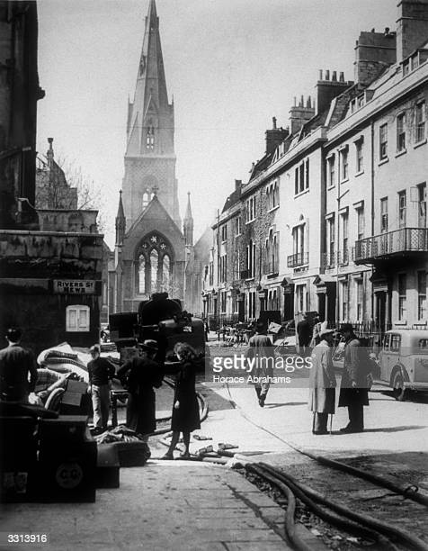 The centre of Bath after a German bombing raid
