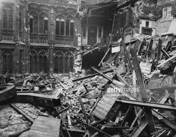 The interior of the Houses of Parliament after a bombing raid